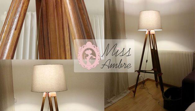 diy lampadaire pied de g om tre miss ambre. Black Bedroom Furniture Sets. Home Design Ideas