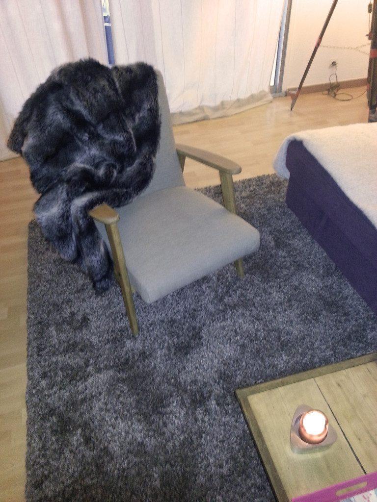 Plaid fourrure loup et tapis Shaggy Lux