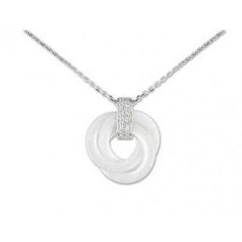712 € Collier ceramique blanche diamant or gris jeell