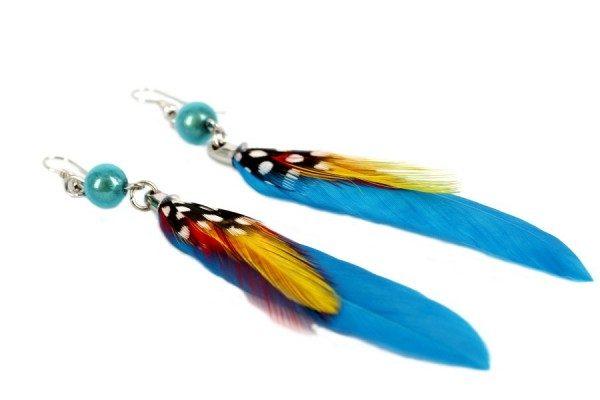 Boucles d'oreilles ethniques plume pas cher